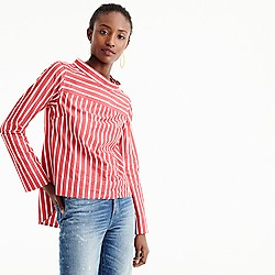 Petite funnelneck striped shirt
