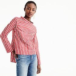 Petite funnelneck striped shirt
