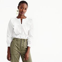 Petite ruffle-front white shirt