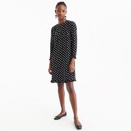 Silk long-sleeve dress in star print