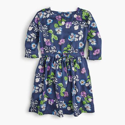 Girls' elastic-waist dress in blue floral