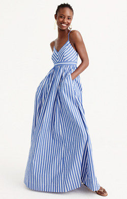 Pre-order Long drapey spaghetti-strap dress in stripe