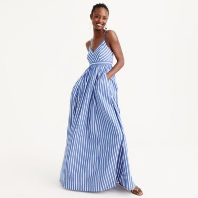 Long drapey spaghetti-strap dress in stripe
