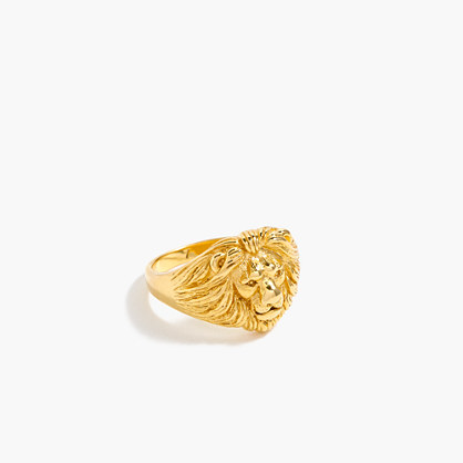 Demi-fine 14K gold-plated lion ring