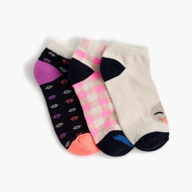 Girls' ankle sock three-pack