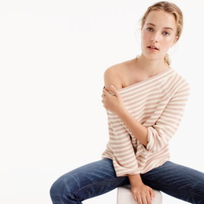 Relaxed boatneck sweater in stripe
