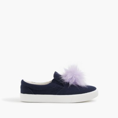Girls' slide sneakers with pom-poms