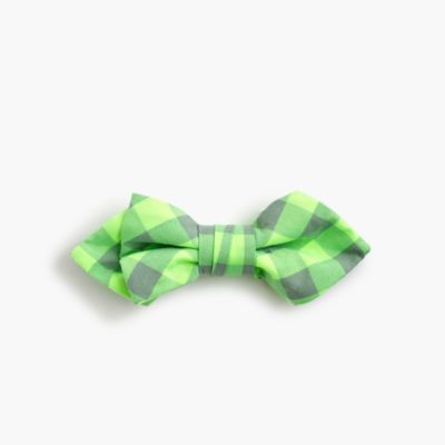 Boys' cotton bow tie in neon gingham