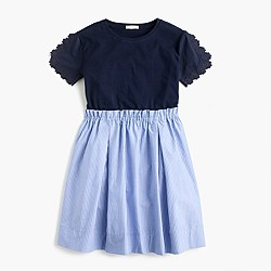 Girls' mixed-media eyelet sleeve dress