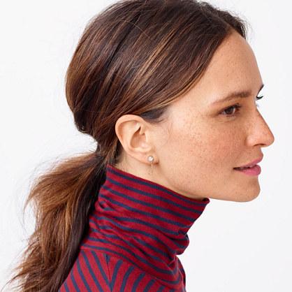 Crystal chain loop-back earrings