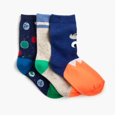 Boys' space socks three-pack