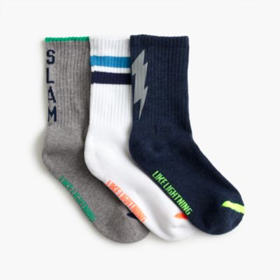 Boys' fun athletic socks three-pack