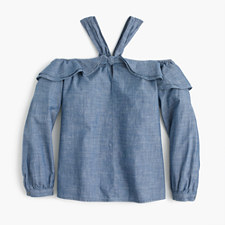 Pre-order Petite Off-the-shoulder tie-neck top in chambray - SERENE BLUE