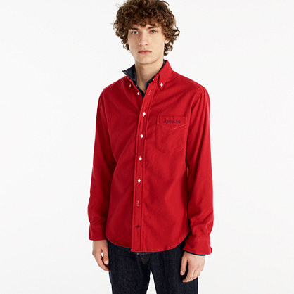 "Gitman Vintageâ""¢ for J.Crew embroidered flannel shirt in black"