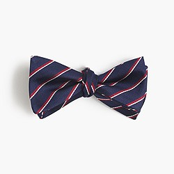 Silk bow tie in fine stripe