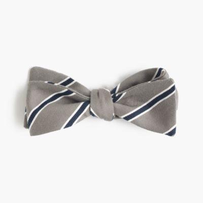 Cotton-silk bow tie in grey stripe