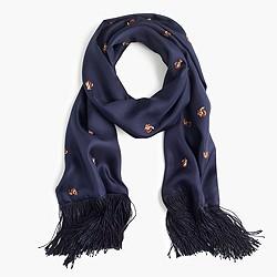 Lightweight silk twill scarf with embroidered squirrels