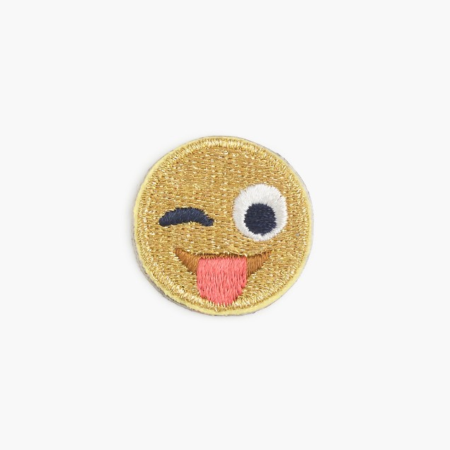 Kids' silly emoji face iron-on critter patch