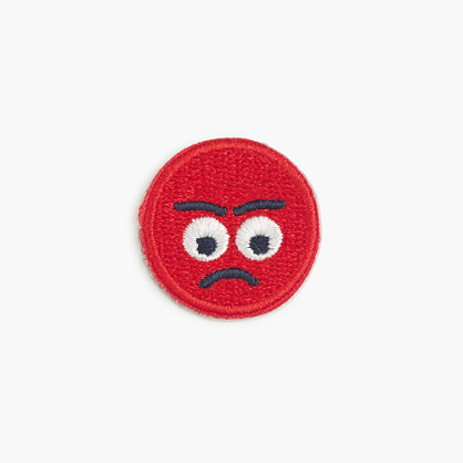 Girls' mad emoji face iron-on critter patch