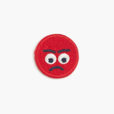 "Girls' ""mad"" emoji face iron-on critter patch"