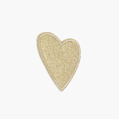 Girls' glitter heart iron-on critter patch