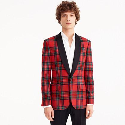 Ludlow Slim-fit dinner jacket in tartan stretch wool