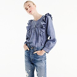 Petite ruffle-front chambray top