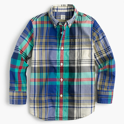 Kids' lightweight flannel shirt in multicolored plaid