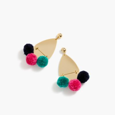 Gold earrings with pom-poms
