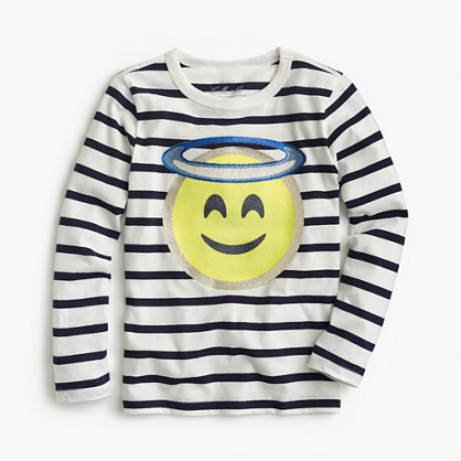 Girls' angel emoji long-sleeve T-shirt