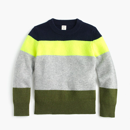 Boys' neon-striped crewneck sweater