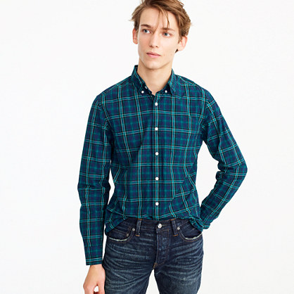 Secret Wash shirt in blue and green plaid