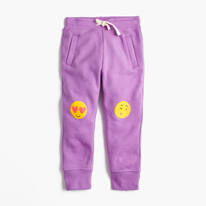 Girls' sweatpants with emoji knees