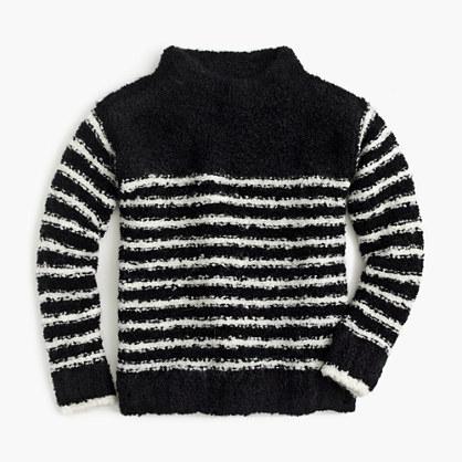 Girls' striped mock-neck sweater