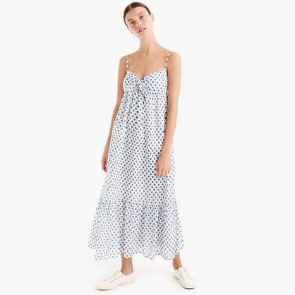 Cotton voile beach dress with tie-front
