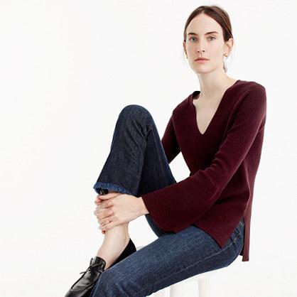 Peplum-sleeve V-neck sweater