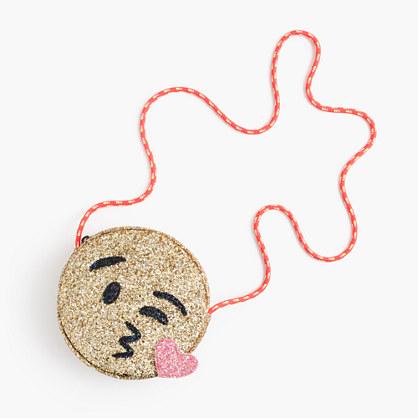 Girls' glitter bag in kissy face emoji