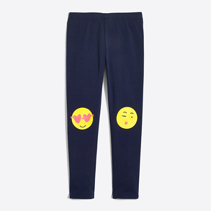 Girls' emoji knee patch leggings