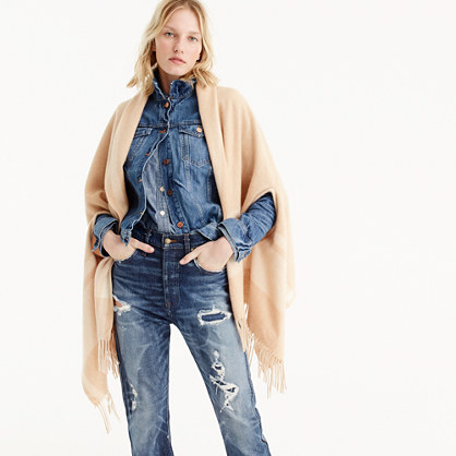 Heather camel cape-scarf