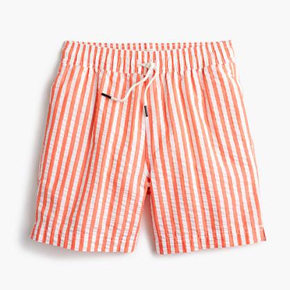 Boys' swim trunk in striped seersucker