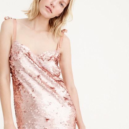Tie-shoulder sequin dress