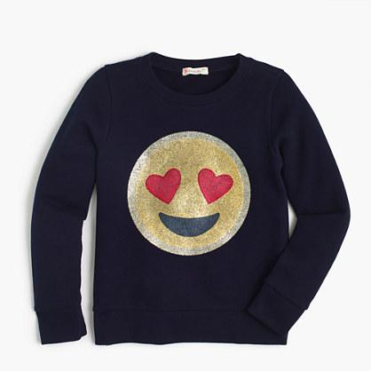 Girls' lovestruck emoji sweatshirt