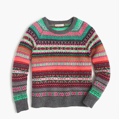 Girls' Fair Isle popover sweater
