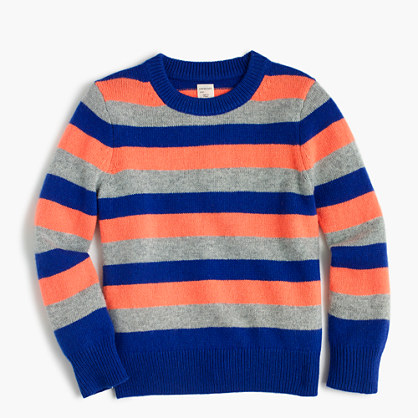 Boys' striped crewneck sweater