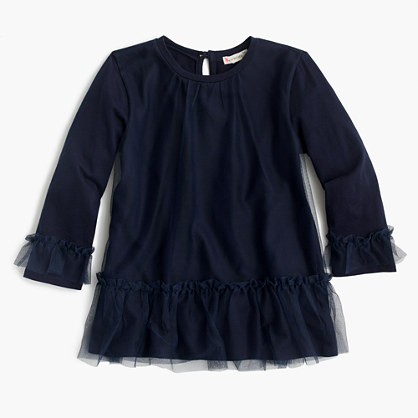 Girls' tulle-covered tunic