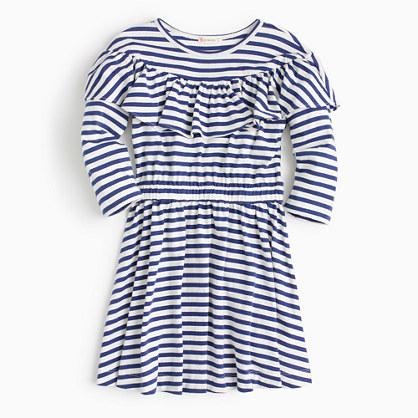 Girls' ruffle-trimmed striped dress