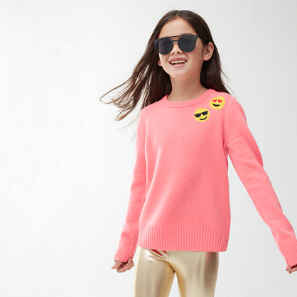 Girls' popover sweater with emojis