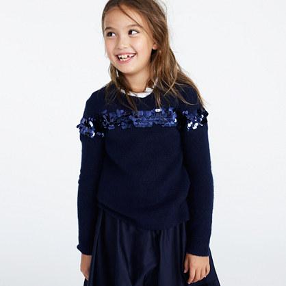Girls' sequin-stripe popover sweater