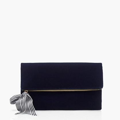 Velvet foldover clutch