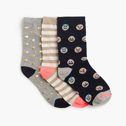 Girls' emoji socks three-pack